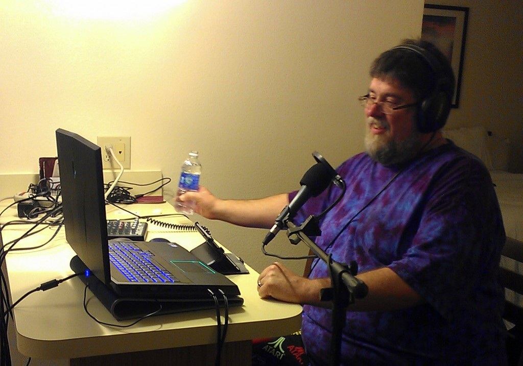 Not Visible was the iPad2 on the chair to my right which was used for our sound card and the Nexus 7 tablet I was reading my show notes from.
